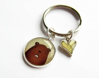 Beaver Keychain, Heart Charm Keyring, Cute Animal Key Chain, Fun Gift