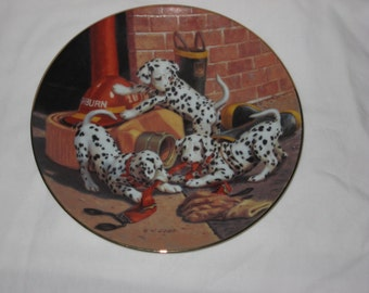 """The Hamilton Collection presents """"Where's the Fire"""" Dalmatian Puppies from All In A Day's Work Collector Plates"""