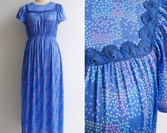 Vintage 80's Jellybean Abstract Polka Dot Blue Maxi Dress S M or L