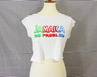 Vintage Jamaica No Problem Boxy Crop Top T-Shirt Women's M