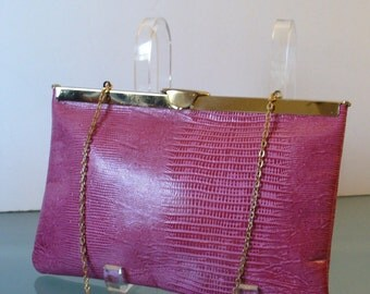 Vintage Raspberry Etra Lizard Embossed Leather Folding Clutch Bag