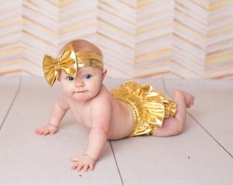 Baby Girl Gold Ruffle Bloomers Headband - Baby Ruffle Bloomers - Gold Ruffle Bloomers - Gold Bloomers Headband Outfit - Cake Smash Set