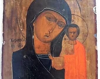 Antique Russian icon Our Lady of Kazan XVIII century