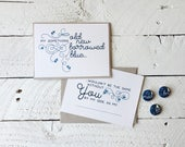 Bridal Proposal Cards, Something Old New Borrowed Blue - Bridal Party, Will You Be My Made of Honor Bridesmaid - 4.5x6 cards w/envelope
