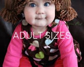 Cabbage Patch Kid Hat - Cabbage Patch Wig - Cabbage Patch Hat- Cabbage Patch Crochet Hat - Cabbage Patch Costume - Halloween - Adult Sizes