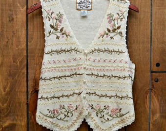 Vintage 1997 90s Floral Embroidered Pearly Knitted Button-Up Vest