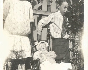 """Vintage Snapshot """"My Sister's Doll"""" Unhappy Boy Next To Baby Doll 1910's Found Vernacular Photo"""