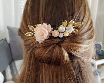 Dusty Pink Rose Hair Comb Wedding Hair Slide Peach Bridal Flower Comb Nude Blush Hair Adornment Headpiece Modern Bride Garden Rustic JW