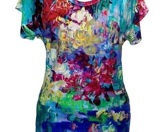 Floral Summer Shirt, Plus Size Shirt, Cotton Shirt, Designer Shirt, Women Shirt, Impressionist Painting, Printed Shirt