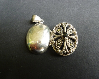 Sterling Silver Marcasite Cut Out Locket