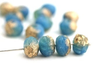 10pc Organic Seaglass look rondels, Blue Golden Wash Czech rondelle beads, donuts - 6x8mm - 1378