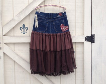 Hippie bohemian skirt size 10 gypsy/brown rustic Upcycled clothing, Eco fashion
