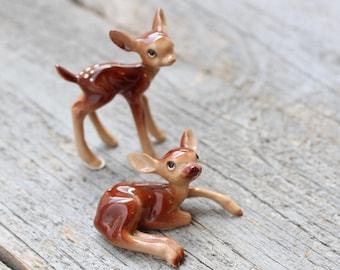 Tiny Baby Deer Figurines, Two Miniature Fawns, Whitetail, Terrarium Animal, Woodland Decor