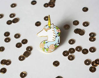 """Floral Unicorn Hard Enamel Pin - 1.5"""" Gold Plated"""