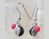 Semi Precious Bead & Silver Leaf Dangle Earrings, Handmade Original Fashion Jewelry, Petite Colorful Simple Elegant Pierced Ladies Gift Idea
