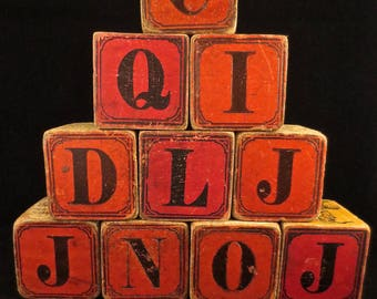 Set of 10 Large Antique Wooden Alphabet Blocks