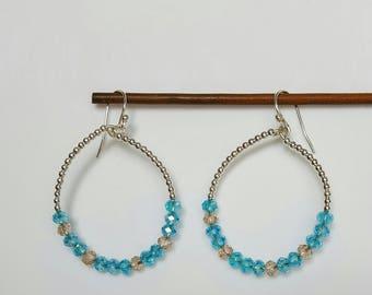 Blue Crystal and Silver Hoop Earrings