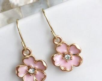 Pink Flower Earrings, Girls Flower Earrings, Girls Gold Earrings, Girls Pink Earrings, Party Favor, Summer Earrings