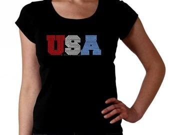 USA RHINESTONE t-shirt tank top sweatshirt  S M L XL 2XL - United States of America Fourth of July Memorial Day Labor Patriotic Independence