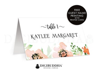 Floral Wedding Place Cards Custom Name Cards Folded or Flat Place Cards Floral Watercolor Dinner Place Cards Custom DIY or Printed - Kaylee