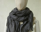 CHARCOAL LINEN scarf / soft fringe