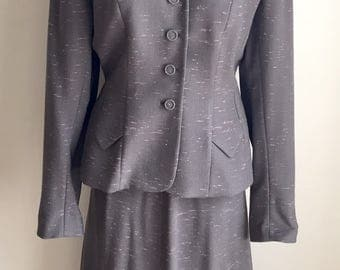 Vintage 1940s Misses' Betty Rose Grey & Pink Skirt Suit 6 8