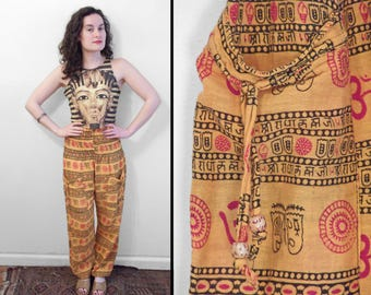 Orange HAREM Pants Indian Lounge Bottoms Red Om Symbol One Size Yoga Romper