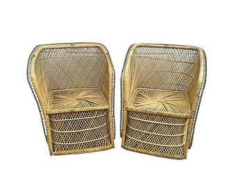 Vintage Rattan Arm Chairs, Pair