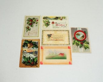 6 Antique Christmas Postcards 1909 to 1911