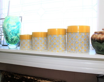 Kitchen Canister Set Yellow Daisies Vintage 1970s