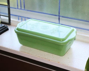Jadite Loaf Pan Refrigerator Dish with Lid Philbe Fire King Glass Vintage 1940s