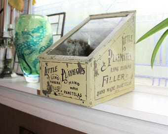 Antique Little Playmates Tobacco Tin Store Display Bin 1910s