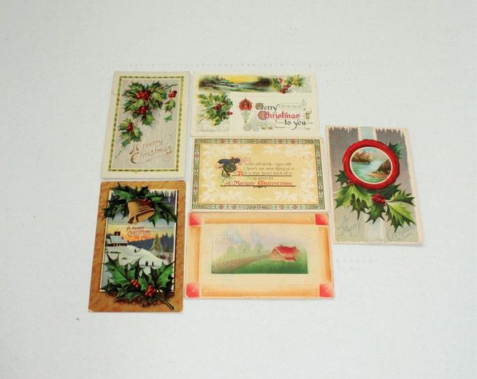 6 Antique Christmas Postcards 1909 to 1911