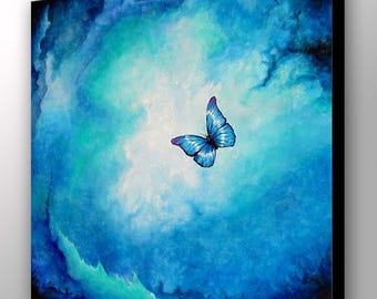Butterfly Canvas Art | Blue Butterfly | Abstract Art | Canvas Art Print | Butterfly Decor | Butterfly Art | Blue Painting | Spiritual Art