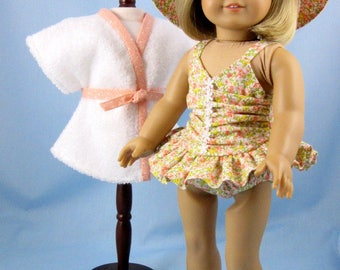 Doll Swimsuit 18 Inches - fits American Girl Dolls - 18 Inch Doll Clothes - Three Piece Doll Swim Set -  Peach Floral