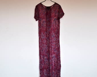 Vintage Magenta Floral Sheer See Through Short Sleeve Maxi Dress