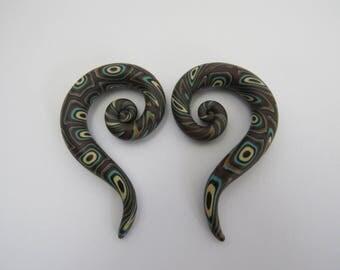 Ear plugs, Artisan ear plugs, unique ear plugs,  Retro ear plugs, body jewelry, spiral hook, 0g ear plugs, Ready to be shipped.