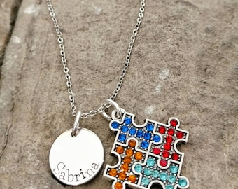 Autism Necklace - Autism Awareness Necklace - Autism Jewelry - Autistic Necklace - Autistic Puzzle Charm - Autism Mom Necklace