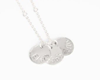 Silver Three Name Mommy Charm Necklace - Sterling Silver 3 Disc Mothers Jewelry