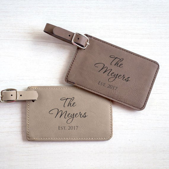 Personalized Luggage Tags Wedding Gift: Pair 2 Personalized Wedding Luggage Tags: Custom Bride Groom