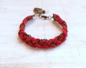 Dark Red Leather Bracelet with Moonstone
