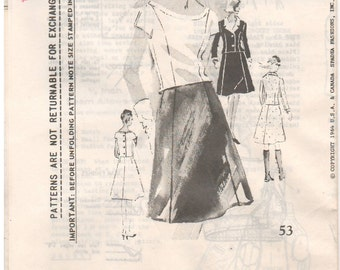 1964 - Spadea 53 Vintage Sewing Pattern Size 14 Bust 36 1/2 Duchess Of Windsor Blouse Short Sleeve Back Button A Line Skirt Jacket Suit