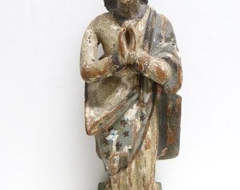 1800's Santos , Antique Hand Carved Saint, Vintage Polychrome