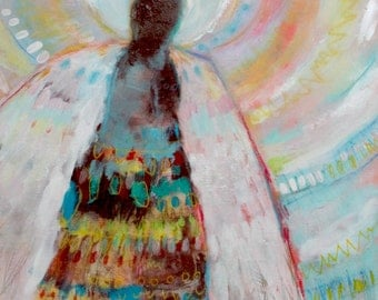 "Abstract Angel Painting, Small Original Art, Modern, Colorful ""Waiting to Be Asked to Help"""