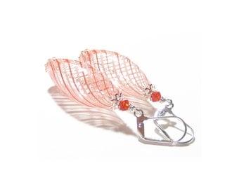 Murano Blown Glass Orange Long Oval Earrings, Sterling Silver Leverbacks, Venetian Glass Jewelry, Hollow Glass Earrings, Clip Ons for Women