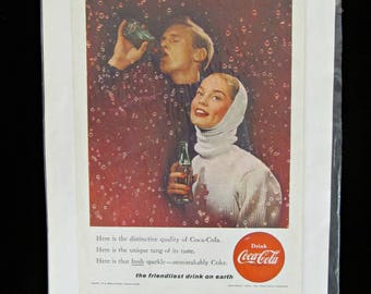 """Vintage 1956 Original Coke Ad Winter Couple 7"""" x 10"""" Coca Cola Magazine Advertisement on Heavy Paper - Free Shipping - Ready for Frame"""
