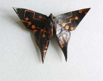 Black and copper Butterfly Origami brooch