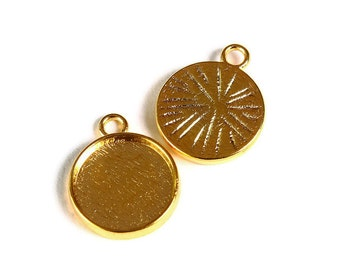 12mm Gold tray Pendant - 12mm cabochon settings - Gold tone findings - nickel free - lead free (1781) - Flat rate shipping