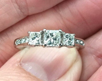 Classic Engagement Princess Cut Diamond ring .97 points total weight , three stones, Engagement ring