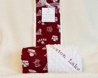 Texas A&M Baby Name Minky Blanket Aggies Gift Set Burp Football PERSONALIZED Boy and Girl Baby Shower Gift